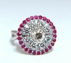 76ct Fancy Color Diamond Ruby Cocktail Circular Cluster Halo Ballerina Ring 14k