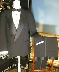 Vtg Tuxedo Double Breasted Bill Blass Tux 40 Short With Pants 35w X 28 L Usa