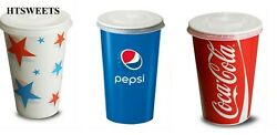 Coca Cola Pepsi Starball Paper Cups With Lids Cold Drinks Cup Party Catering