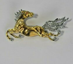 18 Karat Solid Gold Horse Pin Ruby Eye Diamond Main ,tail Vintage Collectable