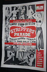 Strippers Parade Rare Oversized Movie Poster - Lots Of Betty Page - 1956