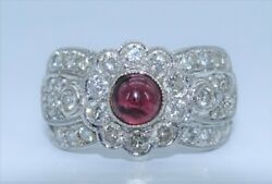 Estate Solid 18k White Gold 2ct Diamond Wide Band 1ct Garnet Ooak Cocktail Ring
