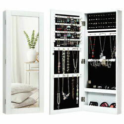 Mirrored Jewelry Cabinet Wall Mounted Armoire Storage Space Saver Christmas Gift