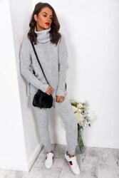 Brand New Womenand039s Knitted Co-ord Set In Grey One Size Must Have Top Purchase