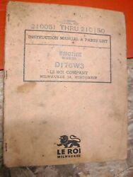 1945 Le Roi D176w3 Valve In Head Engine Instruction Manual And Parts List Vintage