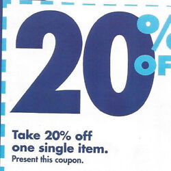 Lot Of 20 Bed Bath And Beyond Coupons - 20 Off Single Item