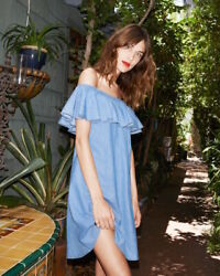 Alexa Chung For Ag Jeans Gorgeous And Girlie Ruffle Denim Dress Sold Out Piece
