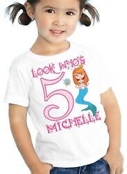 Birthday Mermaid T Shirt Personalized Girls Kids Toddler Youth Tee With Name Age $12.99