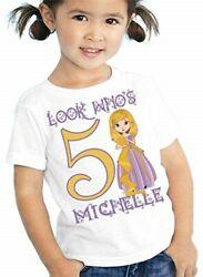 Birthday Rapunzel T Shirt Personalized Girls Kids Toddler Youth Tee Custom Look $12.99