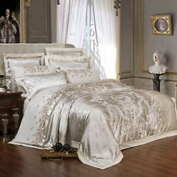 Silk Satin Bedding Set Duvet Cover Printed Pillowcase Fitted Sheet Bedsheets New
