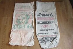 2 Vintage Seed Feed Bags-armor-cottonseed Meal-snow White Cane Sugar 1123