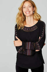 J. Jill ~ M may fit L ~ Great Embroidered Ladder-Stitched Peasant Top ~ NWT