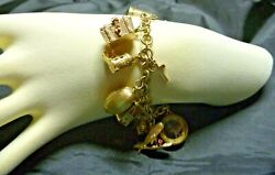 Vintage Estate 9ct/k Yellow And Rose Gold 18 Charm Bracelet C 1960and039s