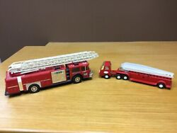 Hess 1986 Toy Fire Truck Red W/ladder And Vintage Tonka Metal Fire Truck
