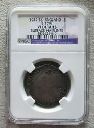 1634-1639 Silver Great Britain Shilling King Charles I Coin Ngc Very Fine Detail