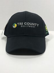NWT TRI COUNTY EQUIPMENT JOHN DEERE  BLACK BASEBALL STYLE HAT MEN'S ONE SIZE $15.00