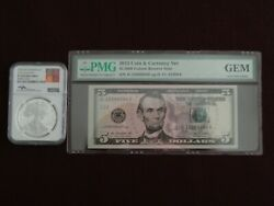 2012 Coin And Currency Set 5 2009 Fed Res Note And 2012 S Sil. Eagle Ultra Ca.