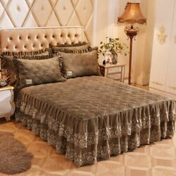 Ruffled Lace Duvet Cover Bedding Set Bedroom Home Textiles Solid Patterned Cases