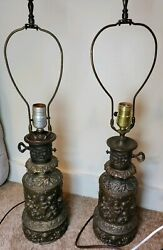 pair of vintage lamps cherub by underwriters laboratory bronze