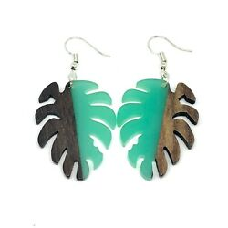 Bohemian Small Turquoise Resin amp; Wood Monstera Palm Leaf Dangle Earrings