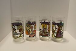 Lot Of 4 Hardees Flintstones Glasses Mint Condition No Chips Smoke Free House