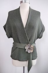 New Brunello Cucinelli Olive Cotton Sweater With Belt And Flower Detail Size M