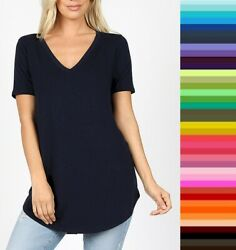 Womens Zenana Relaxed Fit V Neck TShirt Short Sleeve Rayon Size S M L XL USA