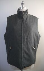 Loro Piana Storm System Gray Cashmere Brown Quilted Reversible Vest Men's S