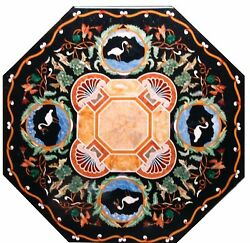 3and039x3and039 Marble Dining Table Top Mosaic Pietra Dura Inlay Stone Art Decor Furniture