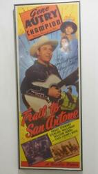 Trail To San Antone Framed Vintage Movie Poster Hand Signed Gene Autry 1947