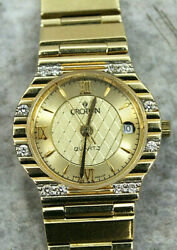 Vintage Croton 14k Limited Edition 25 Mm Gold And Diamond Ladies Watch 104 Of 150