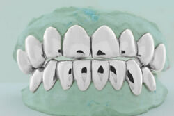 Solid 10k 14k 18k Real White Gold Perm Cut Design Custom Fit Grill Grillz