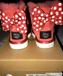 """""""limited Edition""""disney Ugg Boot Sweetie Bow Kids Red Medium Size 6"""