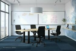 8' Foot Conference Table Has Grommets And Black Metal Legs White Gray 8 Colors