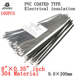 8 X0.35 Black Stainless Steel Plastic Pvc Coated Zip Cable Ties 9x200mm 304