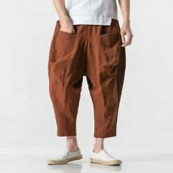 Men Chinese Style Cotton Harem Pants Saggy Trousers Loose Fit Summer Big Pocket