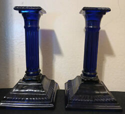 2x Dalzell Cobalt Blue Glass Candle Holders