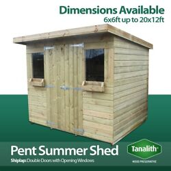 Summer Pent Shed Pressure Treated Tanalised Summer House Quality Wooden Timber