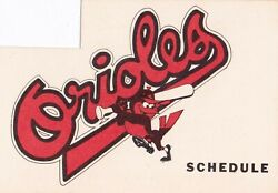 1970's To 2000's Mlb Baltimore Orioles Baseball Schedule - U-pick From List