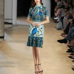 Women Shirt+skirt Peacock Print Party Casual Summer Luxury Two Pieces Suit Dress