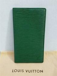 Auth Louis Vuitton Checkbook Cover Holder Agenda Notebook Green Epi Leather