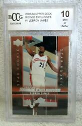 Lebron James Rc 2003-2004 Upper Deck Rookie Exclusives Rookie Card Bccg10v1