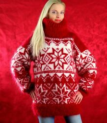 Red Nordic Mohair Sweater Norwegian Fuzzy Thick Icelandic Jumper Supertanya