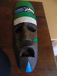 1976 Seattle Seahawks Hand Carver Mask Tiki Lounge Sports Wooden Handpainted Wow