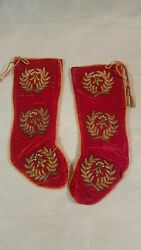 Vintage Christmas Stockings Red Embroidered Set Of 2