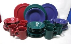 Pier 1 China Festival 45-piece Set Service For 12 Teal, Blue And Red Less 4 Mugs