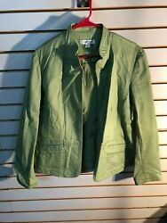 Coldwater Creek Womenand039s Green Cotton/spandex Open Font Jacket- Size Large