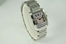2384 Tank Francaise Stainless Steel Pink Mother Of Pearl Dial C. 2000's