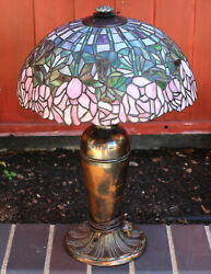 Antique Stained Mosaic Leaded Glass Miller Slag Lamp Blue Pink Roses Flowers Ml