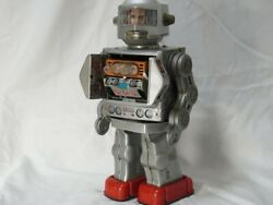 Tinplate Robot Astronaut Machine Gun Type Space Toy Explorer 1960s Rare Silver